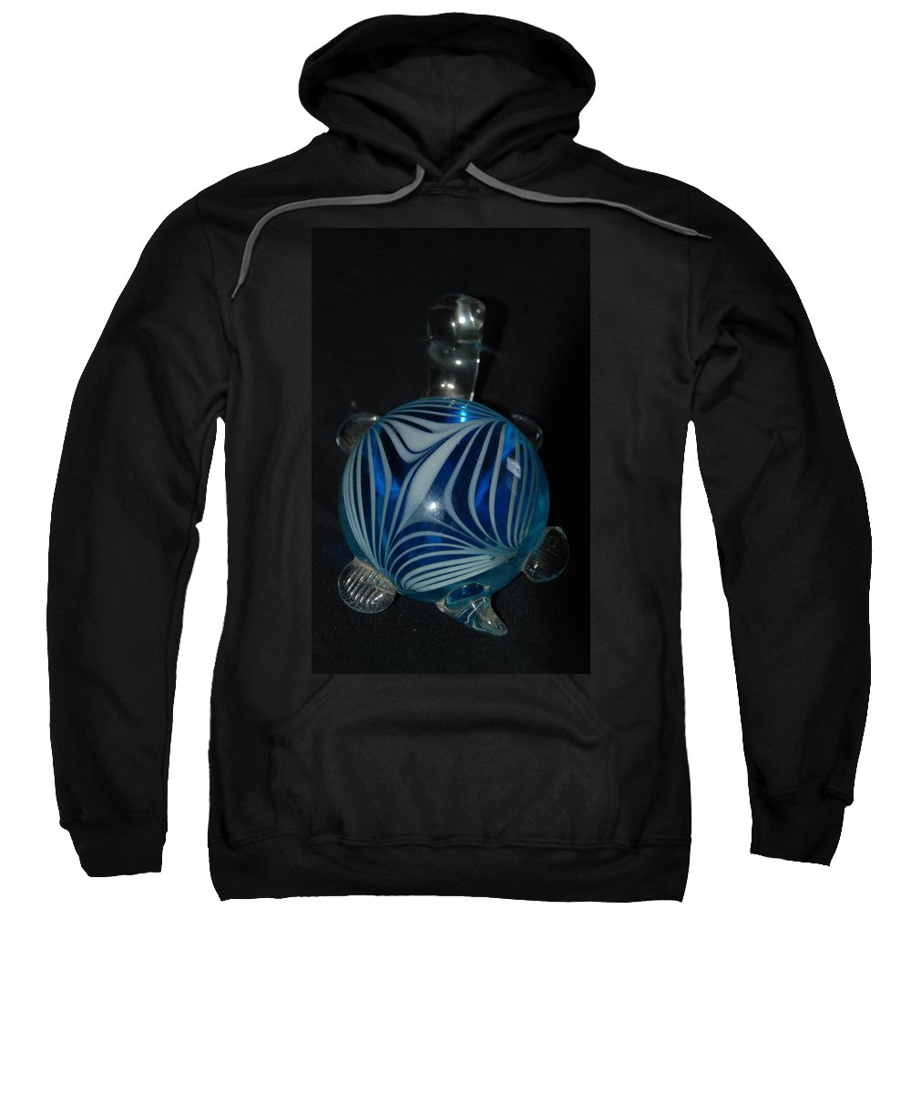 Glass Sweatshirt featuring the photograph Blue Glass Turtle by Rob Hans