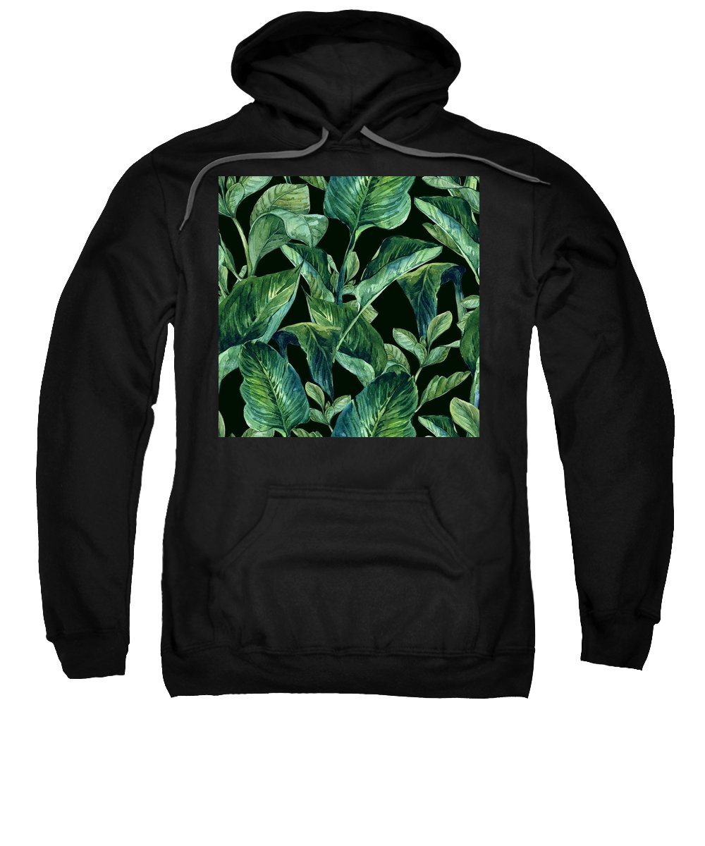Nature Sweatshirt featuring the painting Blue Green Watercolor Tropical Leaves by Elaine Plesser