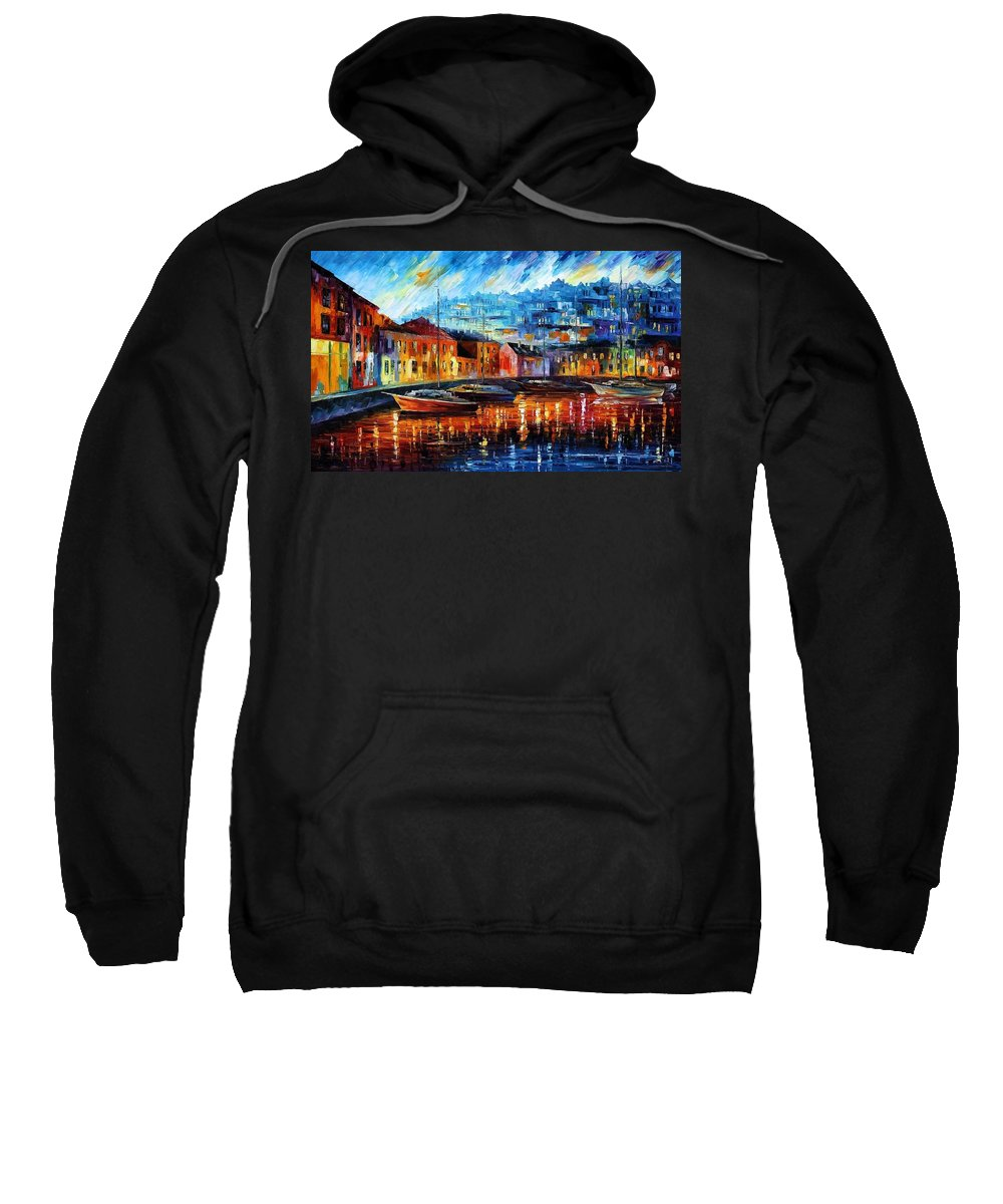 Afremov Sweatshirt featuring the painting Blue Harbor by Leonid Afremov