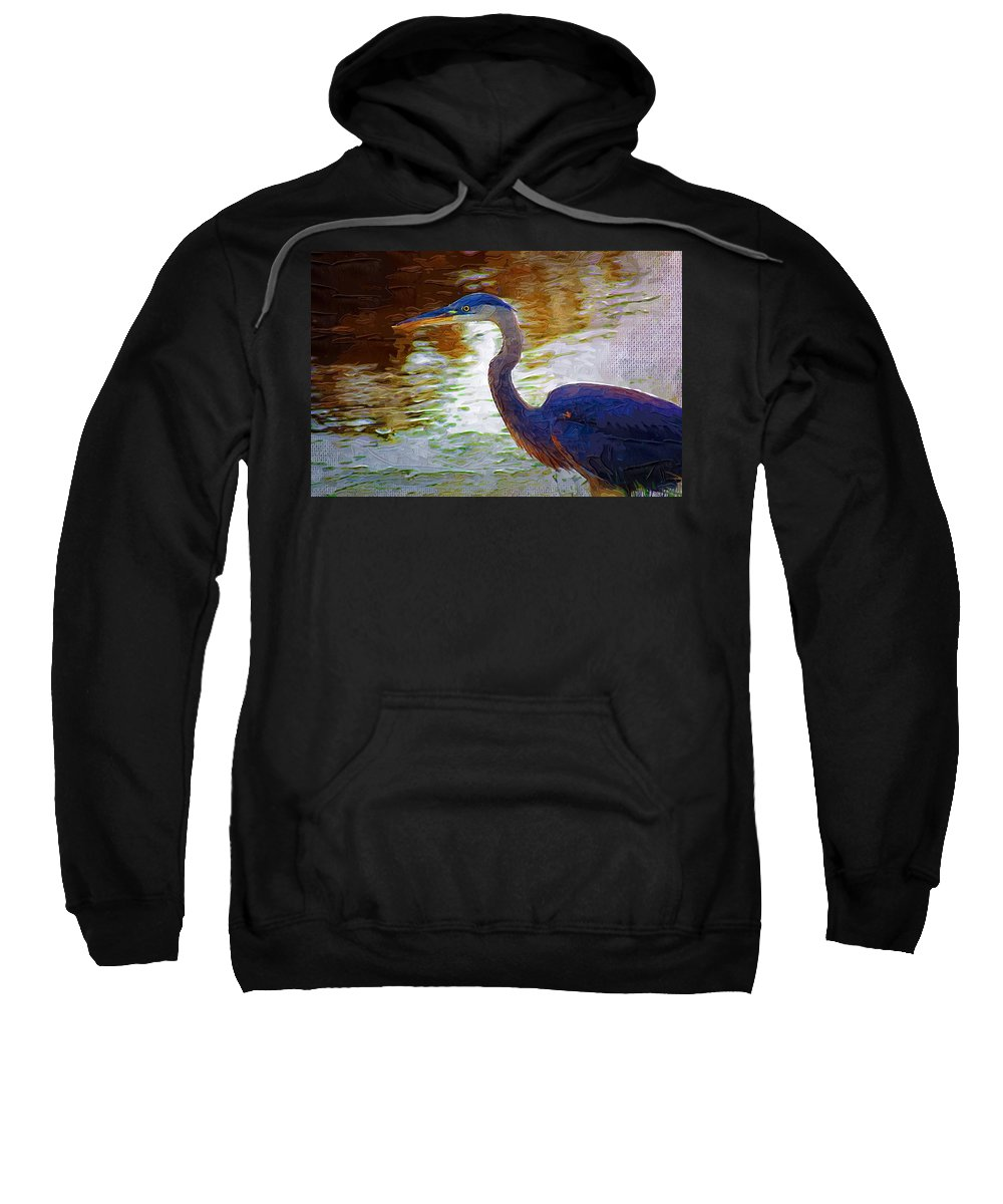 Blue Heron Sweatshirt featuring the photograph Blue Heron 2 by Donna Bentley