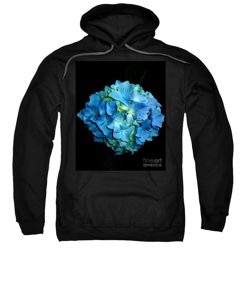 Hydrangea Sweatshirt featuring the photograph Blue Hydrangea by H Cooper
