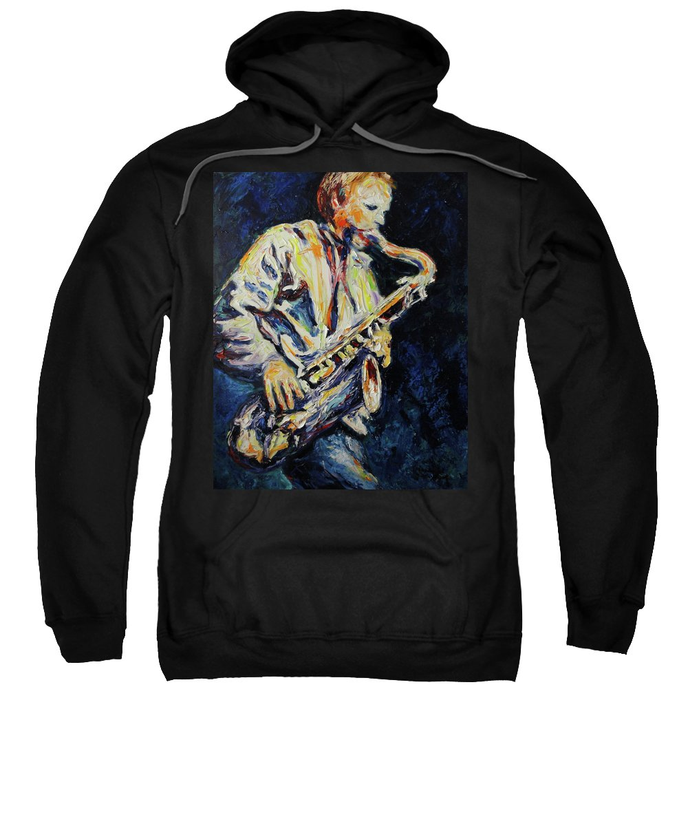 Sax Sweatshirt featuring the painting Blue Les by Shannon Grissom