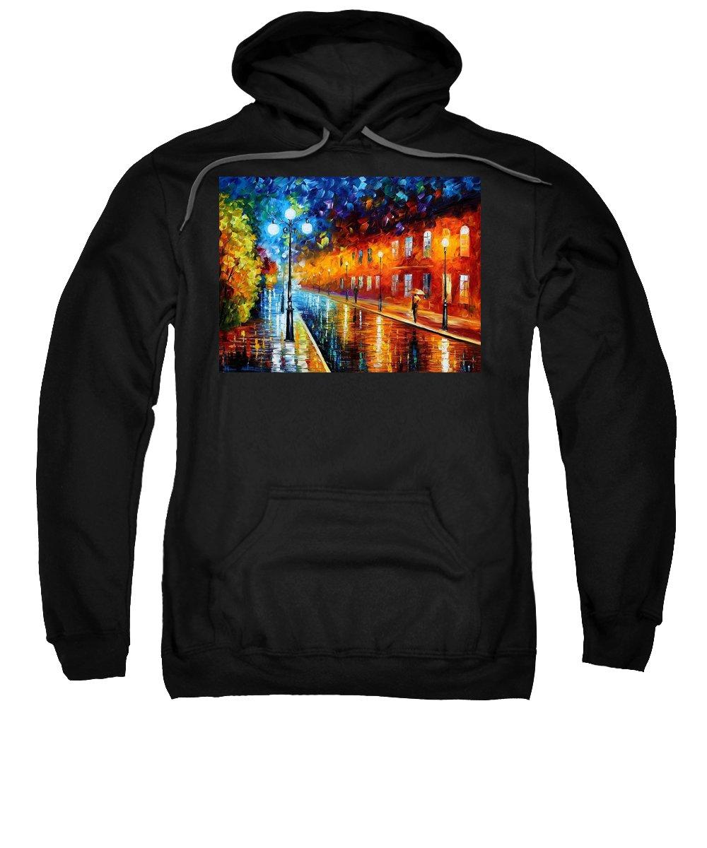 Afremov Sweatshirt featuring the painting Blue Lights by Leonid Afremov