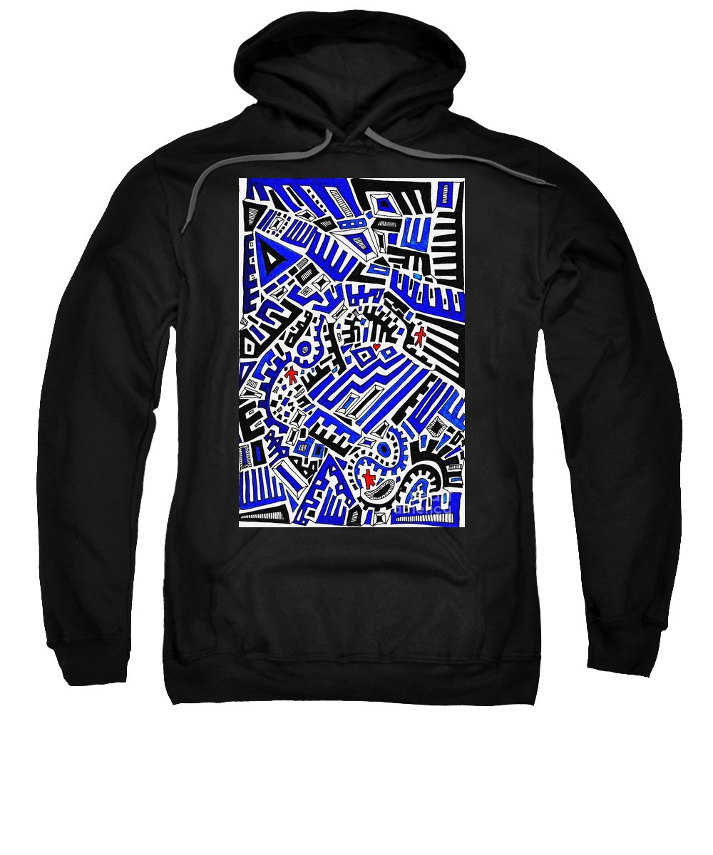 Doodle Sweatshirt featuring the drawing Blue Maze by Sarah Loft