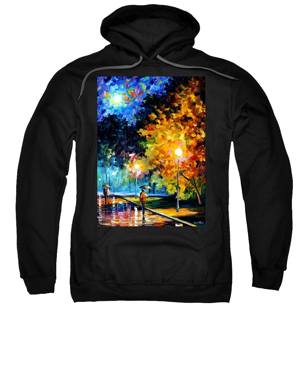 Afremov Sweatshirt featuring the painting Blue Moon by Leonid Afremov