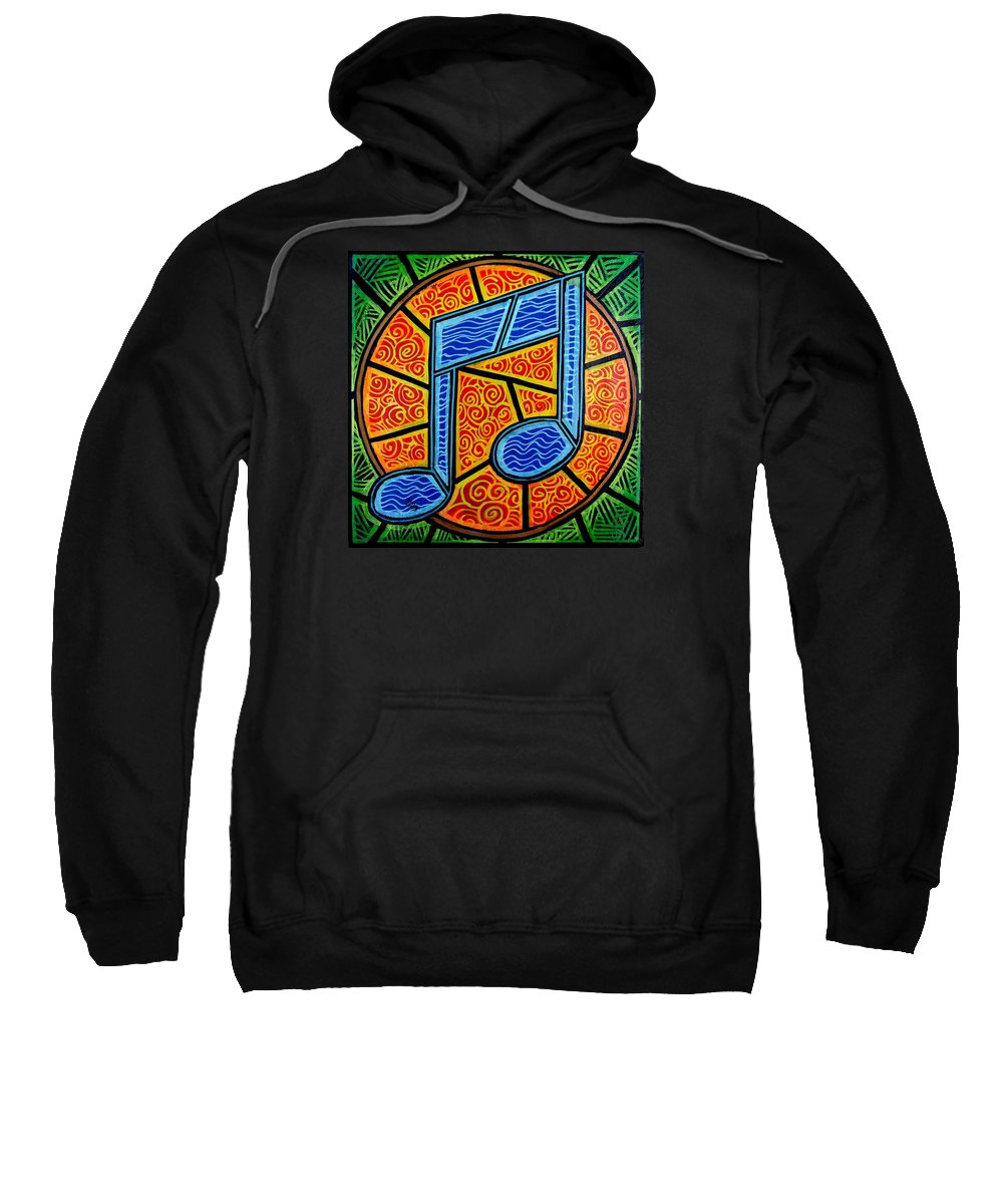 Music Sweatshirt featuring the painting Blue Note on Red by Jim Harris