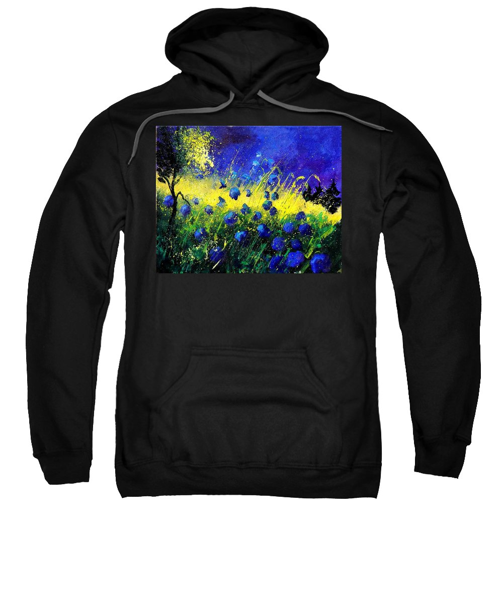 Flowers Sweatshirt featuring the painting Blue Poppies by Pol Ledent