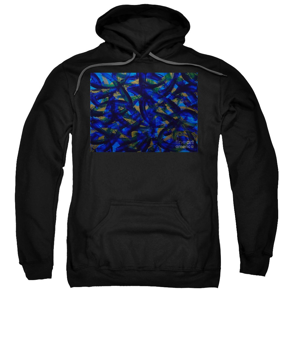 Abstract Sweatshirt featuring the painting Blue Pyramid by Dean Triolo