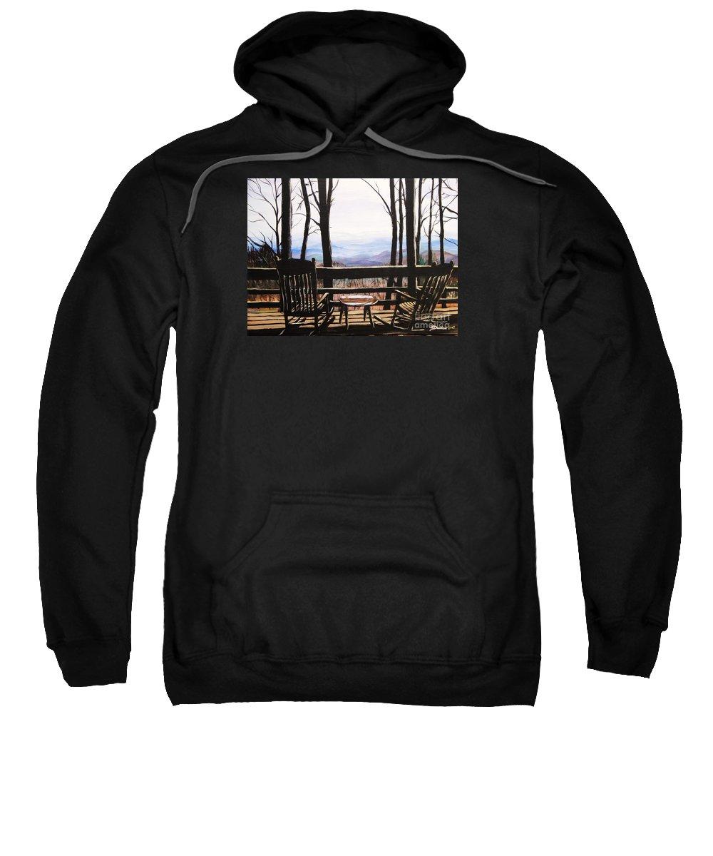 North Carolina Sweatshirt featuring the painting Blue Ridge Mountain Porch View by Patricia L Davidson