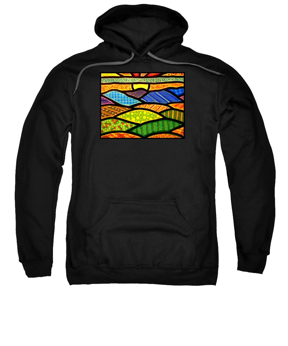 Quilts Sweatshirt featuring the painting Blue Ridge Sunrise by Jim Harris