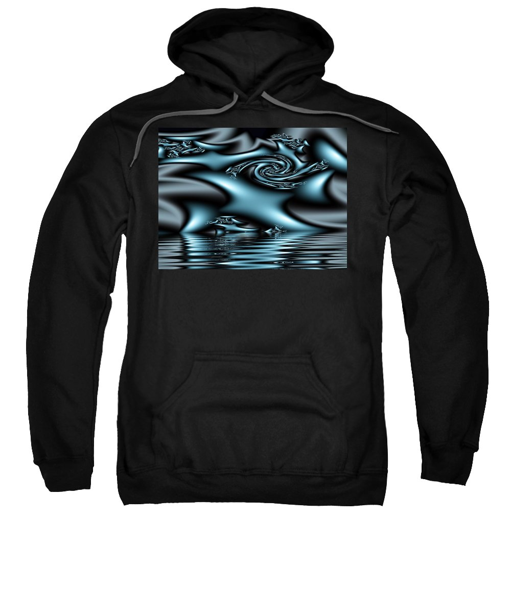 Fractals Blue Lake Sun River Water Sweatshirt featuring the digital art Blue Sun by Veronica Jackson