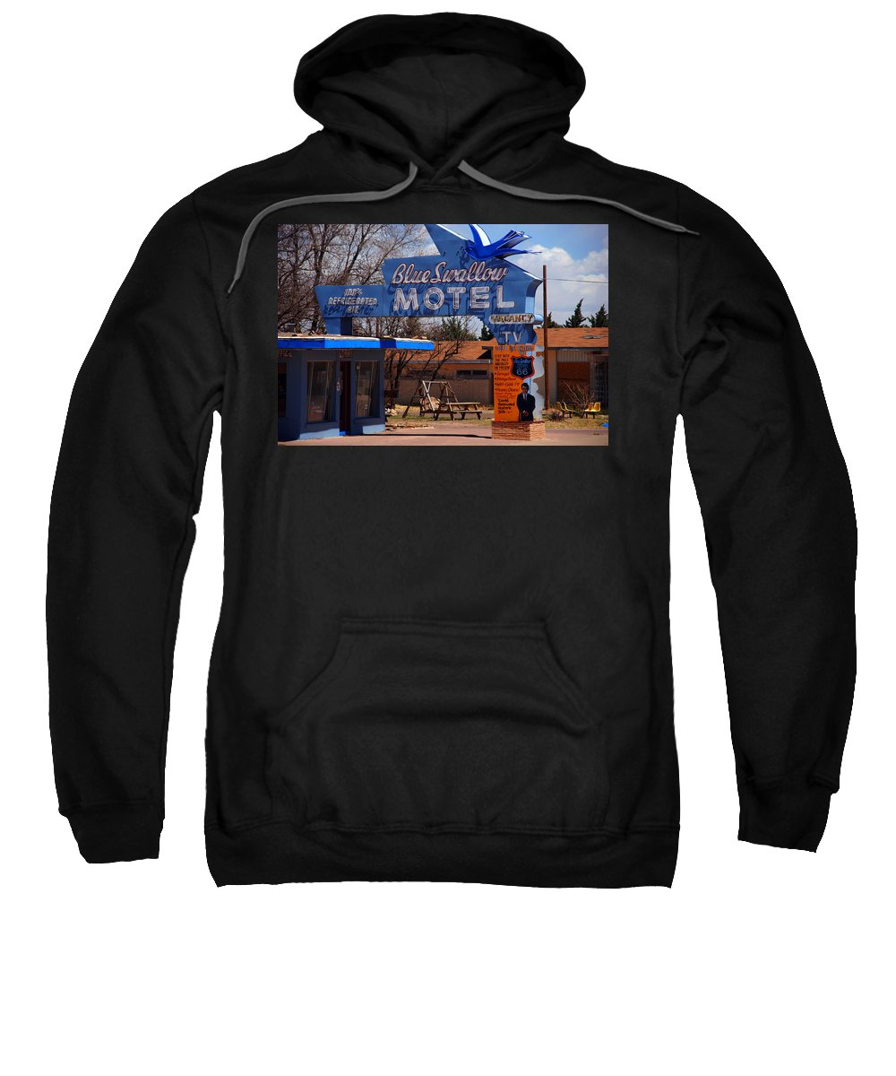 Route 66 Sweatshirt featuring the photograph Blue Swallow Motel On Route 66 by Susanne Van Hulst
