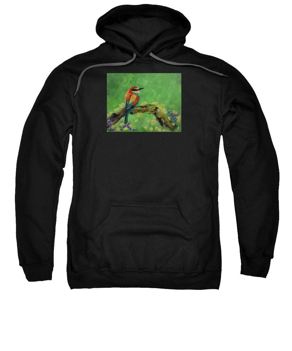 Bird Sweatshirt featuring the painting Blue Tailed Bee Eater by Laura Wilson
