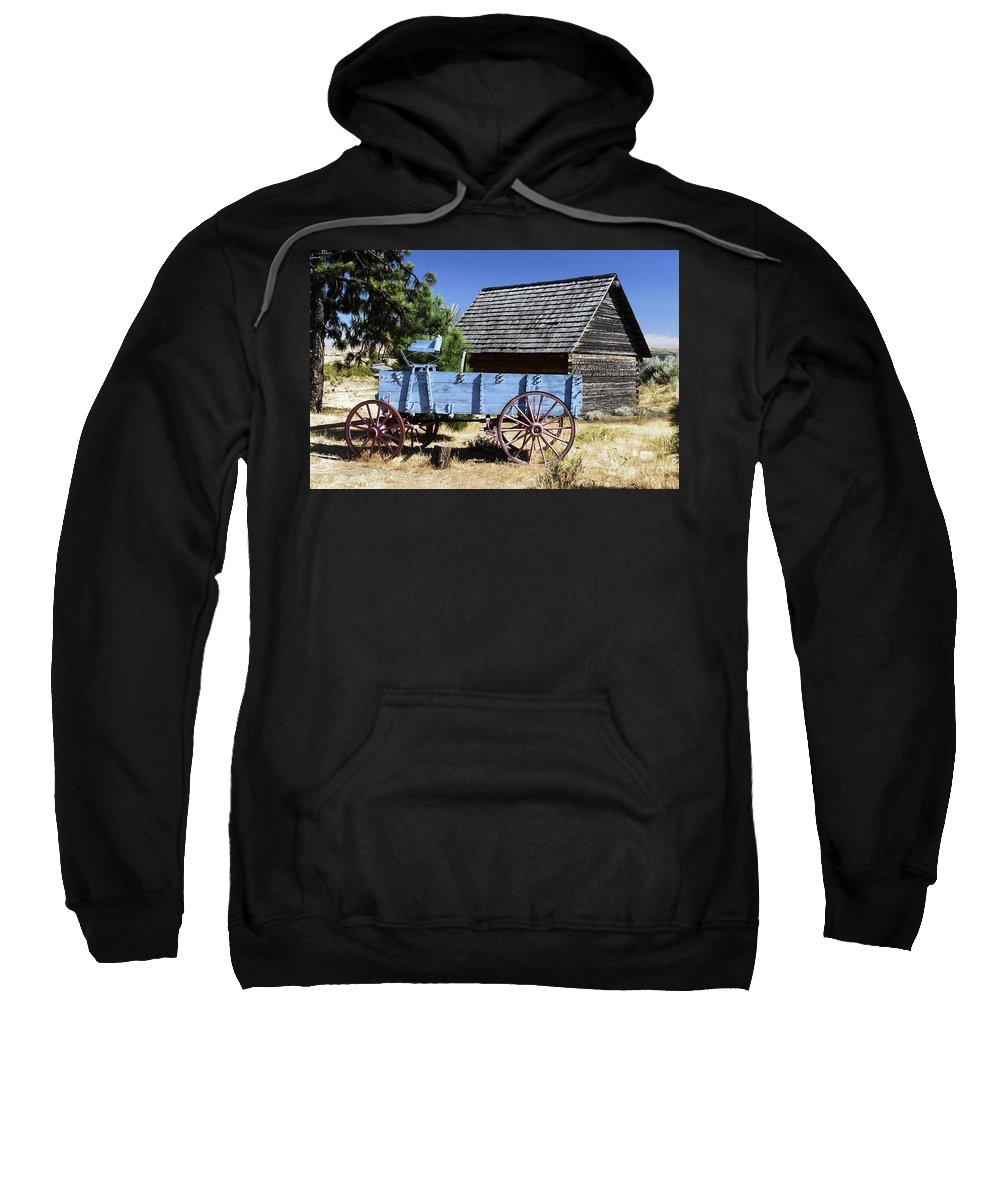 Wagon Sweatshirt featuring the photograph Blue Wagon by David Lee Thompson