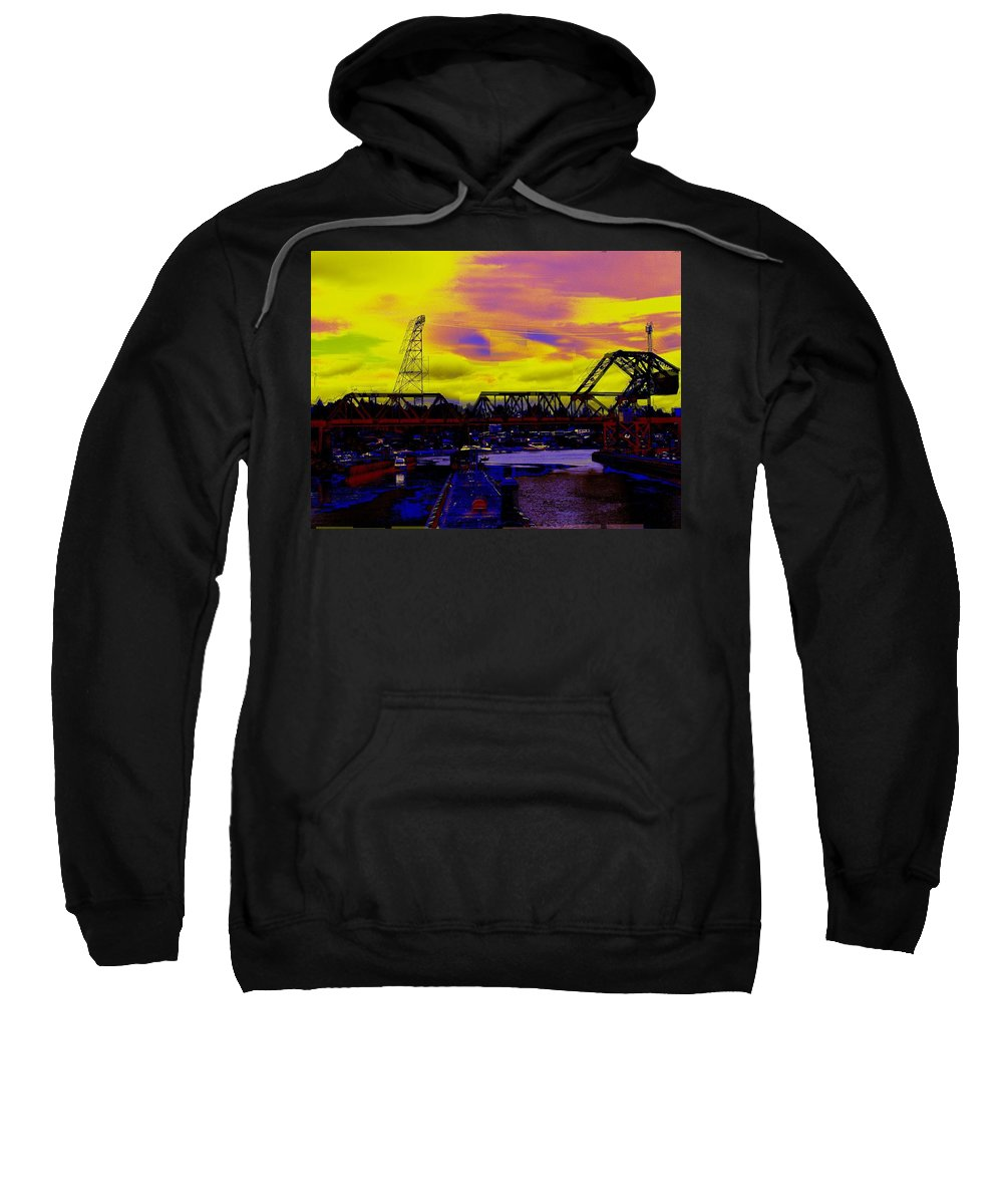 Seattle Sweatshirt featuring the photograph Bnsf Trestle At Salmon Bay by Tim Allen