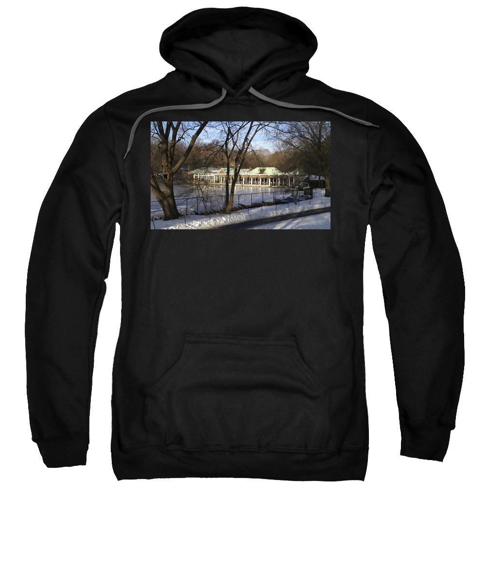 Boat Sweatshirt featuring the photograph Boat House Central Park Ny by Henri Irizarri