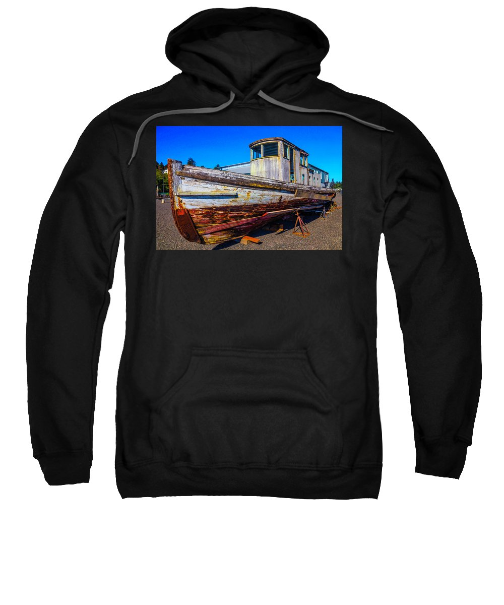 Old Sweatshirt featuring the photograph Boat In Dry Dock by Garry Gay