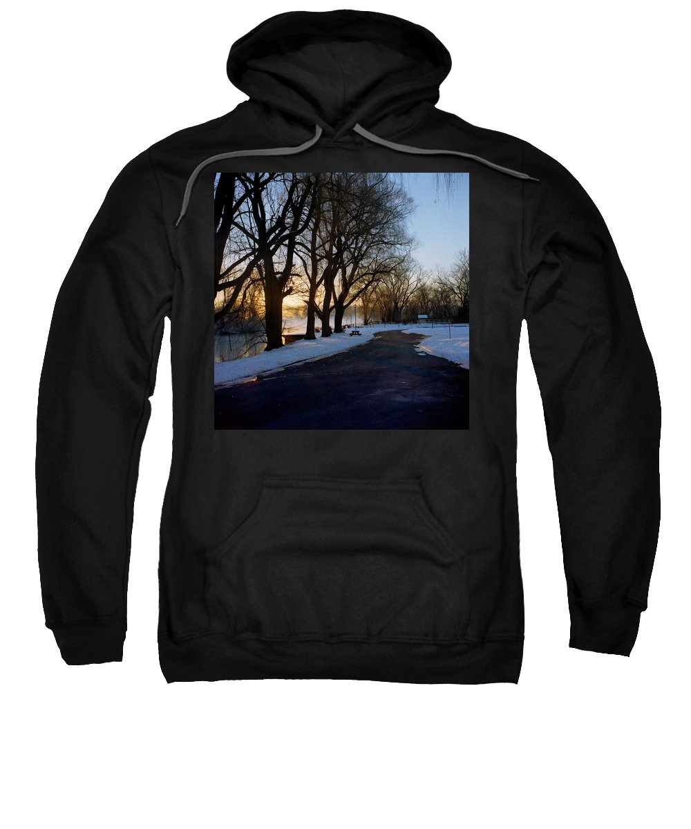 Winter Sweatshirt featuring the photograph Boat Launch In Winter by Joshua Macneil