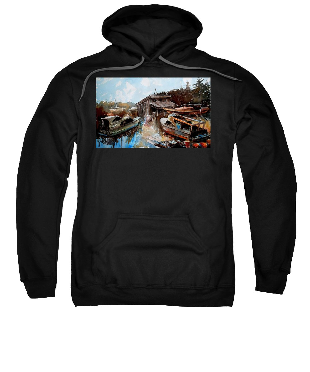 Boats House Water Sweatshirt featuring the painting Boats In The Slough by Ron Morrison