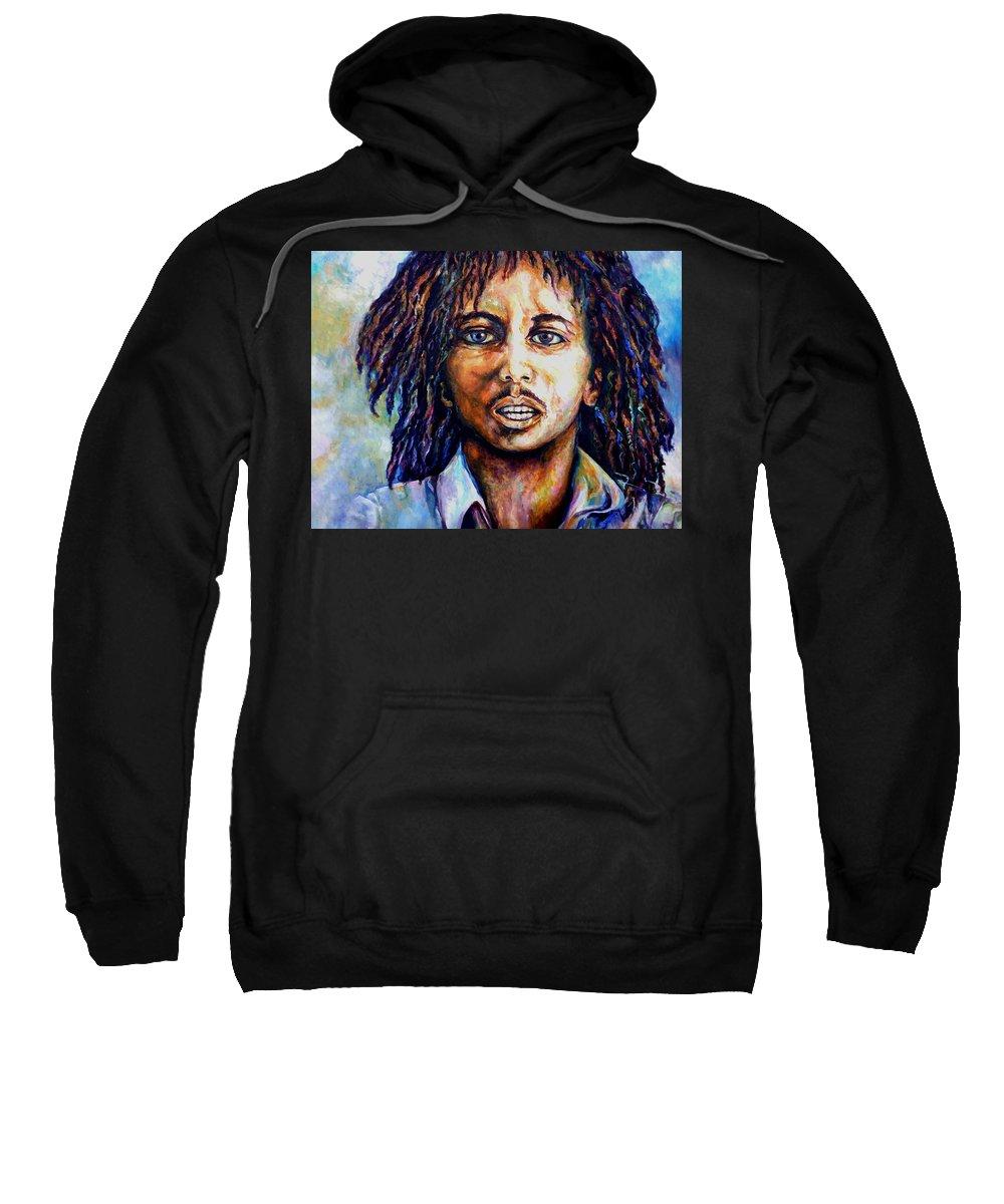 Original Fine Art By Lloyd Deberry Sweatshirt featuring the painting Bob Marley by Lloyd DeBerry