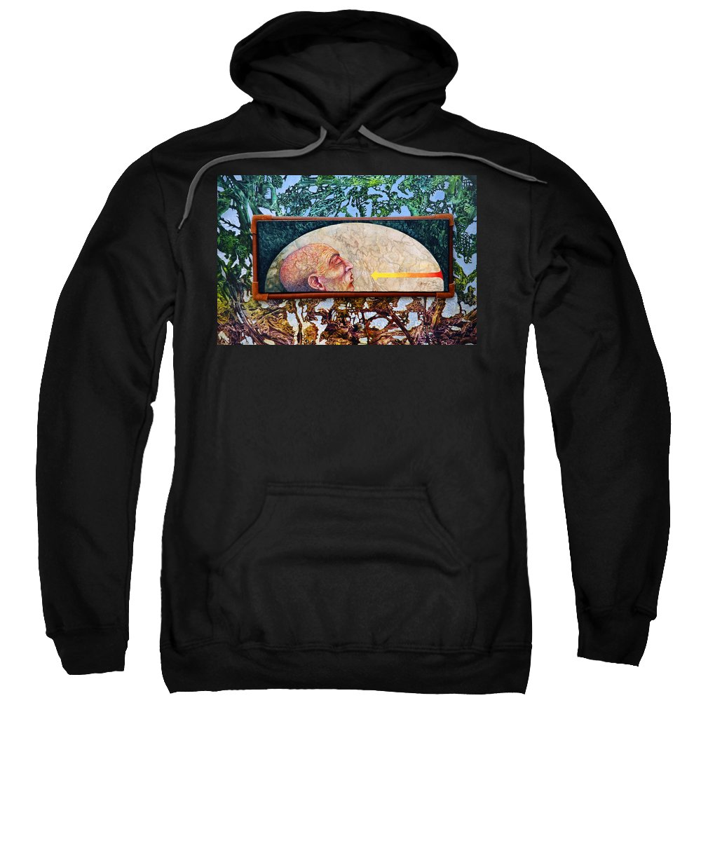 Surrealism Fantasy Fantastic Realism Decalcomania Otto Rapp The Mystic Sweatshirt featuring the painting Bogomil Rising by Otto Rapp
