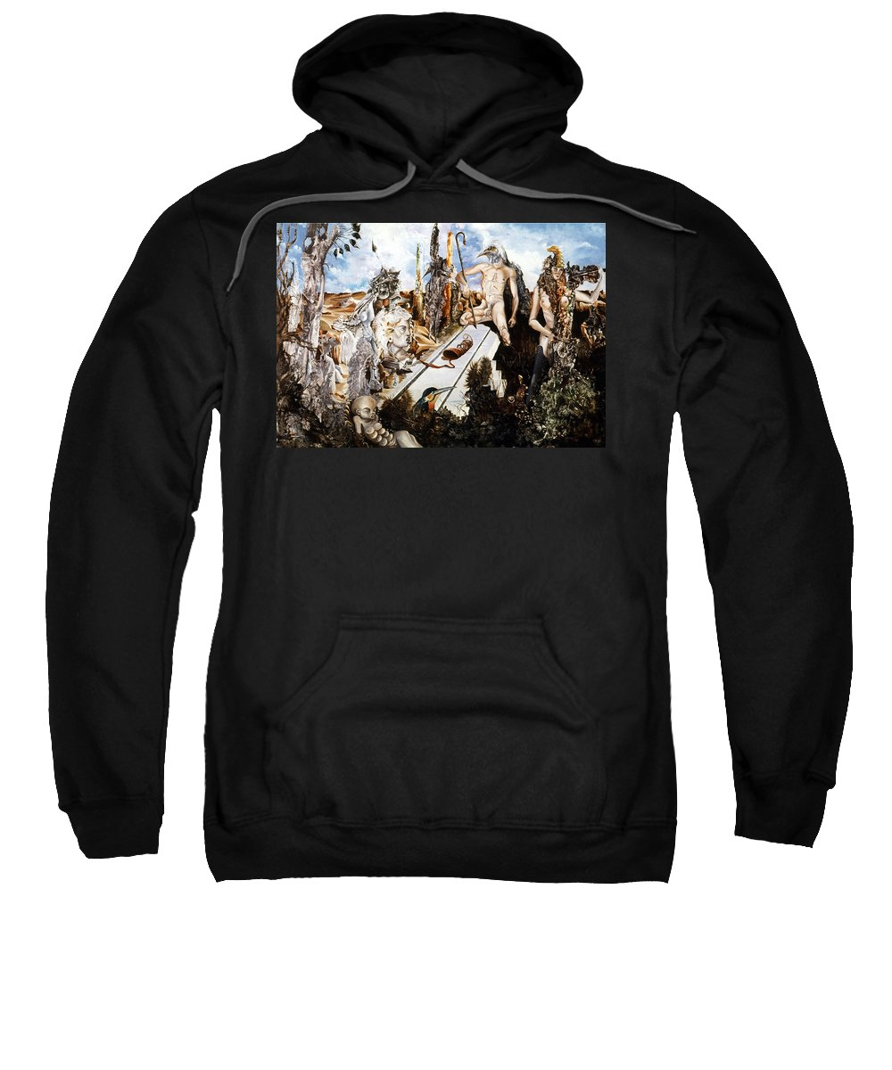 Surrealism Sweatshirt featuring the painting Bogomils Court by Otto Rapp