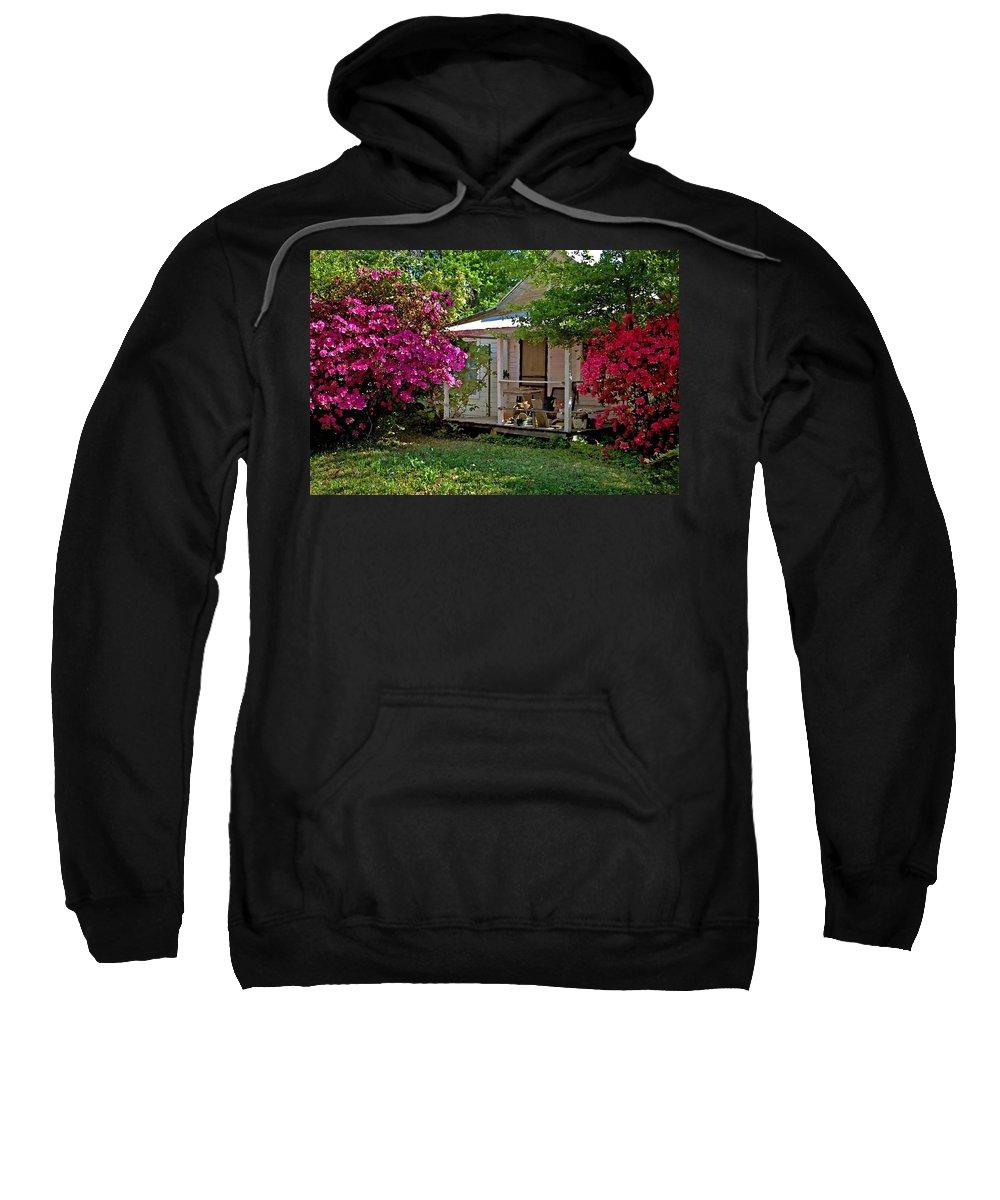 Fairhope Sweatshirt featuring the digital art Bon Secour Pink Porch by Michael Thomas