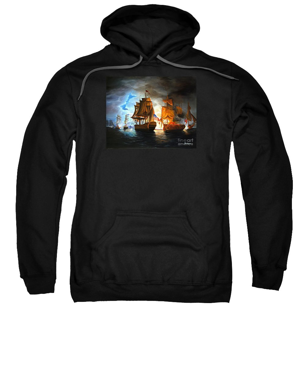 Naval Battle Sweatshirt featuring the painting Bonhomme Richard Engaging The Serapis In Battle by Paul Walsh