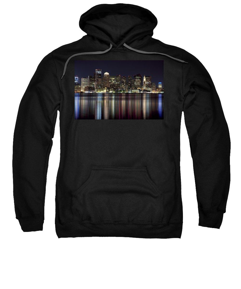 American Sweatshirt featuring the photograph Boston Skyline At Night by Jenna Szerlag