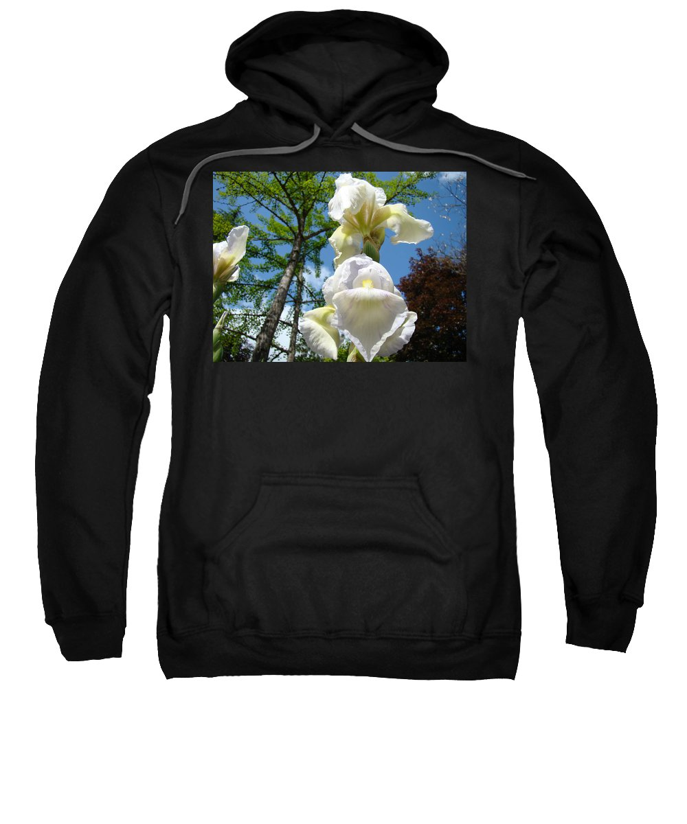 Iris Sweatshirt featuring the photograph Botanical Landscape Trees Blue Sky White Irises Iris Flowers by Baslee Troutman