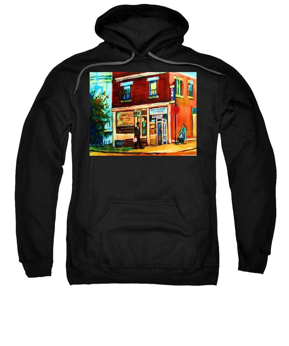 Kosher Bakery Sweatshirt featuring the painting Boulangerie Cachere by Carole Spandau