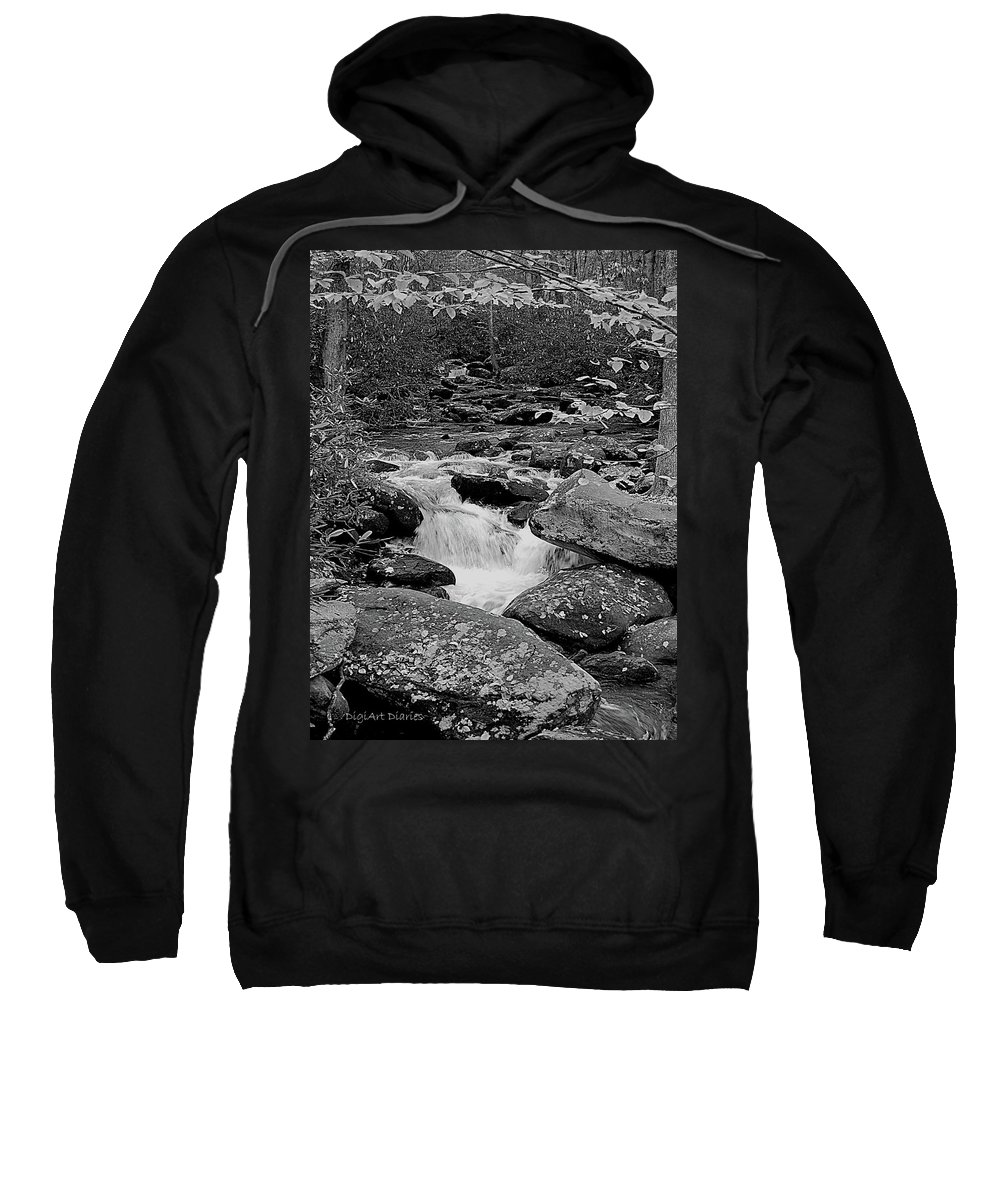 Rocks Sweatshirt featuring the digital art Boulder Creek by DigiArt Diaries by Vicky B Fuller