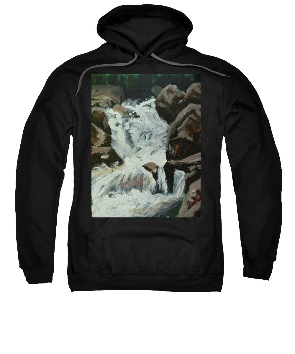 Waterfalls Sweatshirt featuring the painting Boulder River Falls Plien Air by Mia DeLode