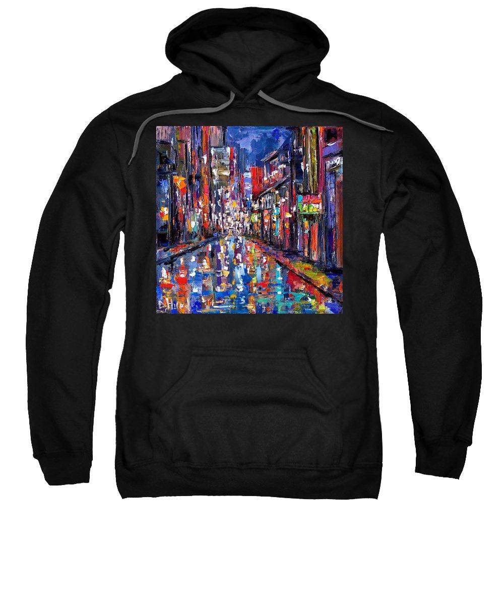 New Orleans Sweatshirt featuring the painting Bourbon Street by Debra Hurd