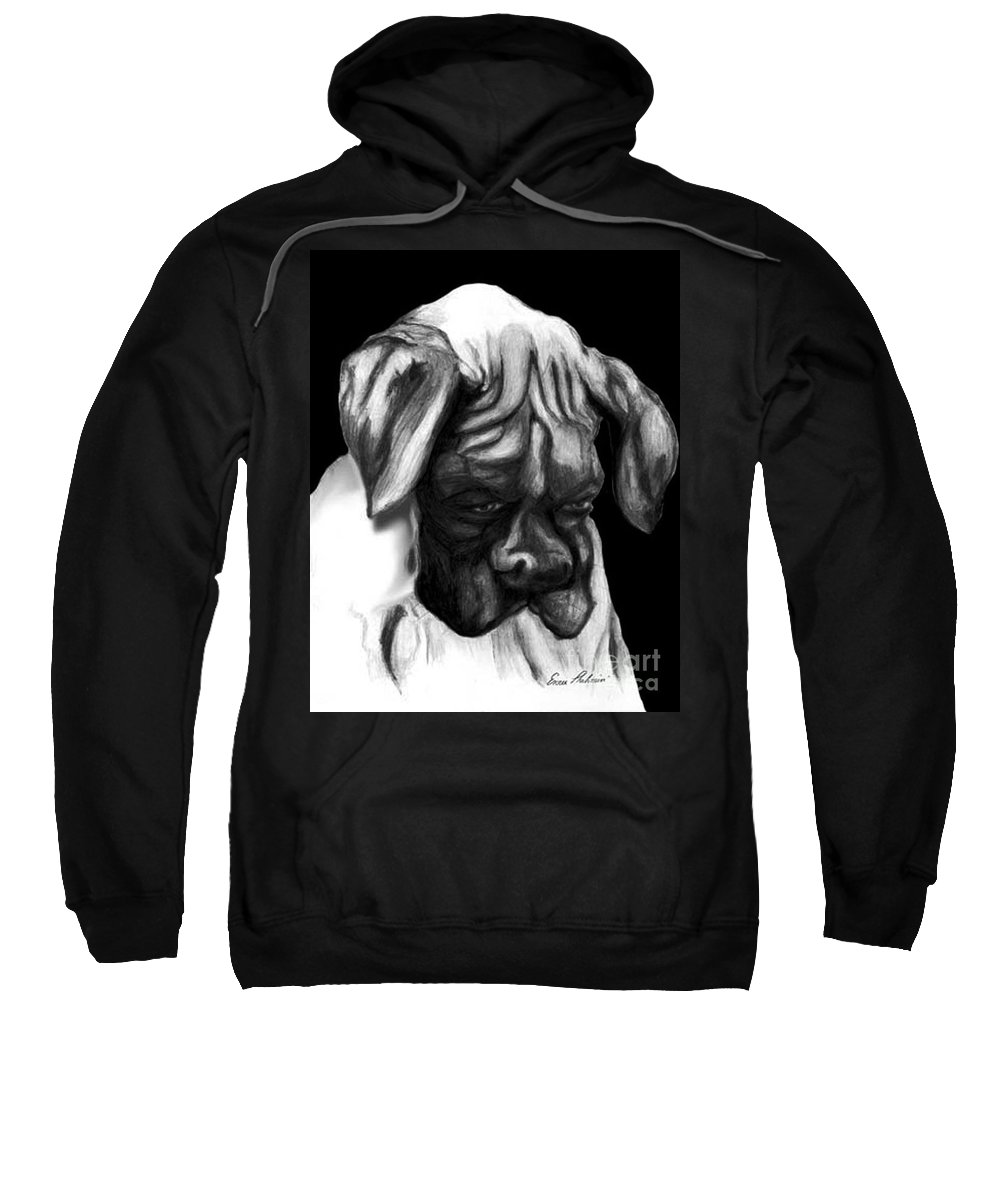 Animals Sweatshirt featuring the painting Boxer Puppy by Portraits By NC