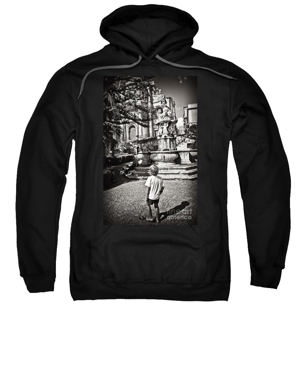 Boy Sweatshirt featuring the photograph Boy At Statue In Sicily by Madeline Ellis