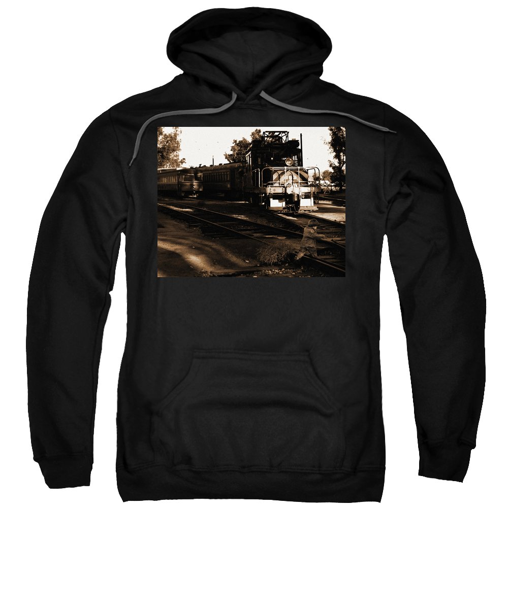 Train Sweatshirt featuring the photograph Boy On The Tracks by Anthony Jones