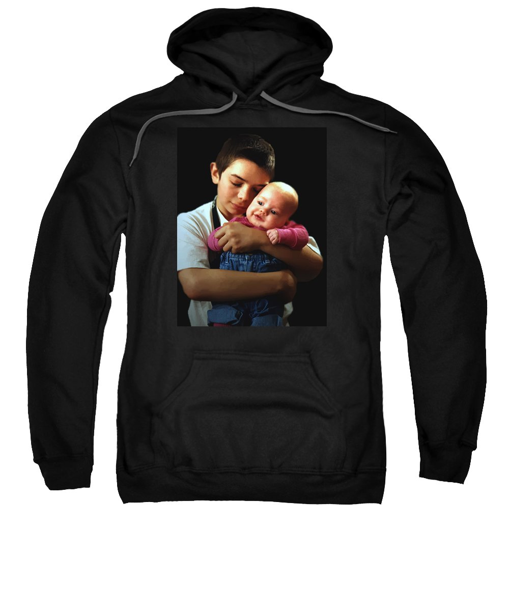 Children Sweatshirt featuring the photograph Boy With Bald-headed Baby by RC deWinter
