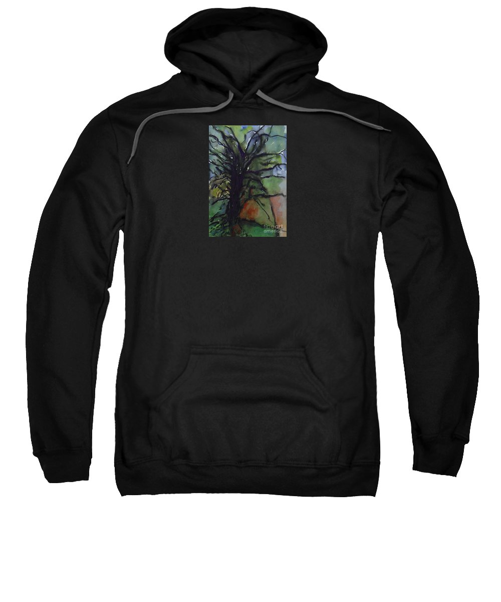 Tree Landscape Abstract Watercolor Original Blue Green Sweatshirt featuring the painting Branching by Leila Atkinson