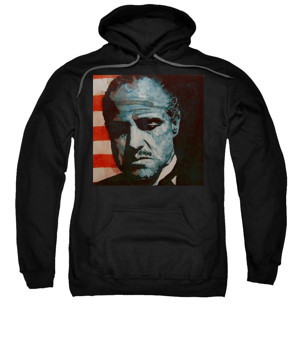 Marlon Brando Sweatshirt featuring the painting The Godfather-brando by Paul Lovering