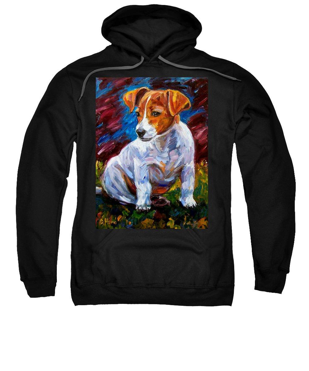 Dog Art Sweatshirt featuring the painting Break Time by Debra Hurd