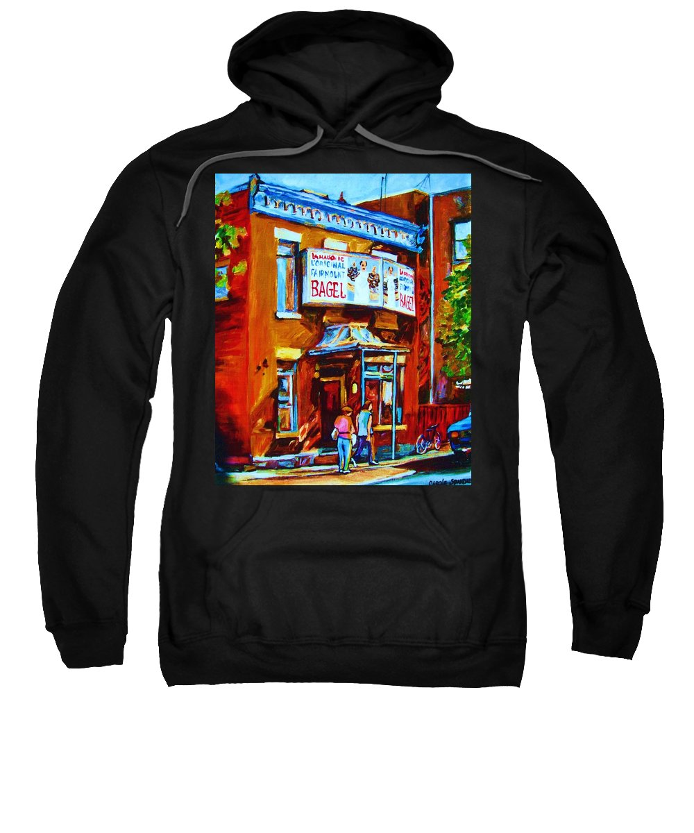 Fairmount Bagel Sweatshirt featuring the painting Breakfast At The Bagel Cafe by Carole Spandau