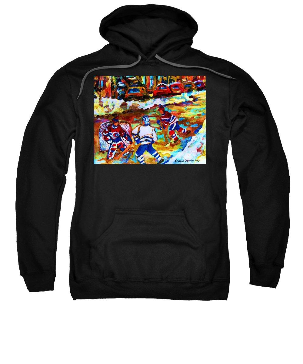Streethockey Sweatshirt featuring the painting Breaking The Ice by Carole Spandau