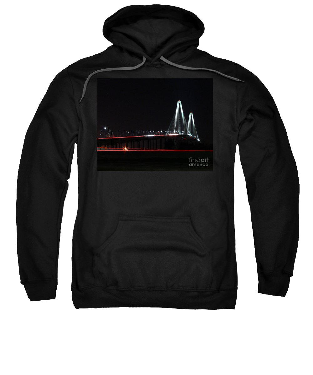 Arthur Ravenel Bridge Sweatshirt featuring the photograph Bridge Blur by Al Powell Photography USA