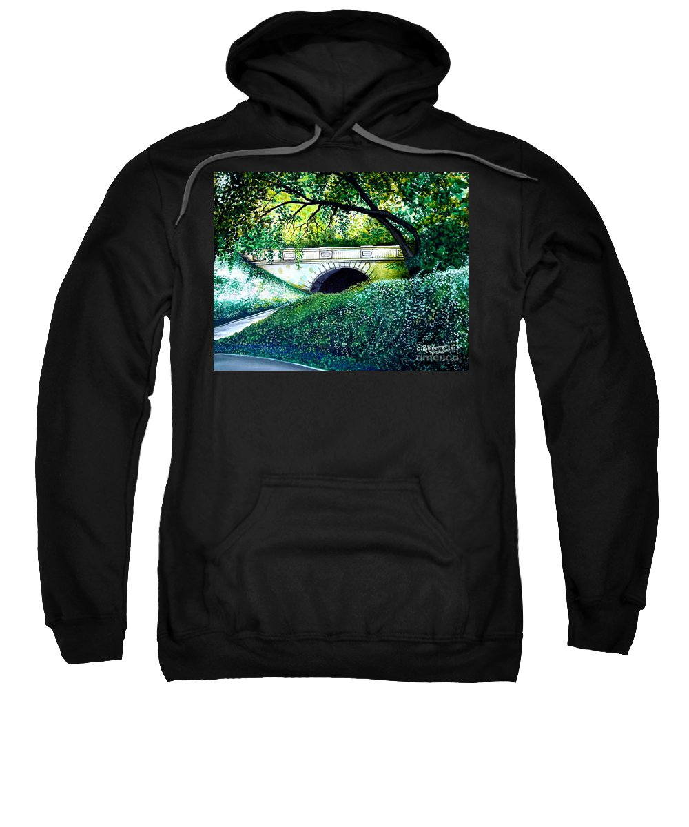 Landscape Sweatshirt featuring the painting Bridge To New York by Elizabeth Robinette Tyndall