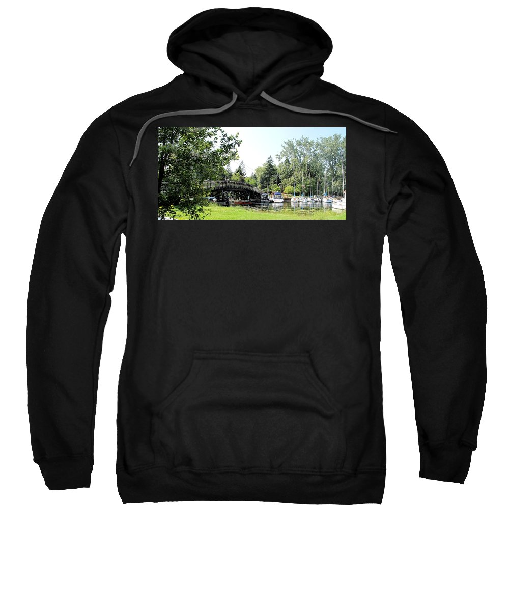 Yahcts Sweatshirt featuring the photograph Bridge To The Club by Ian MacDonald