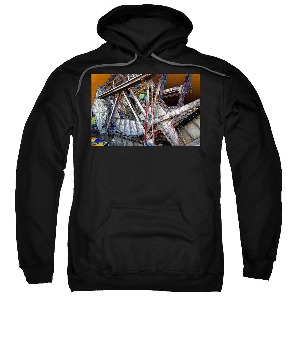 Bridge Sweatshirt featuring the painting Bridge Works by David Lee Thompson