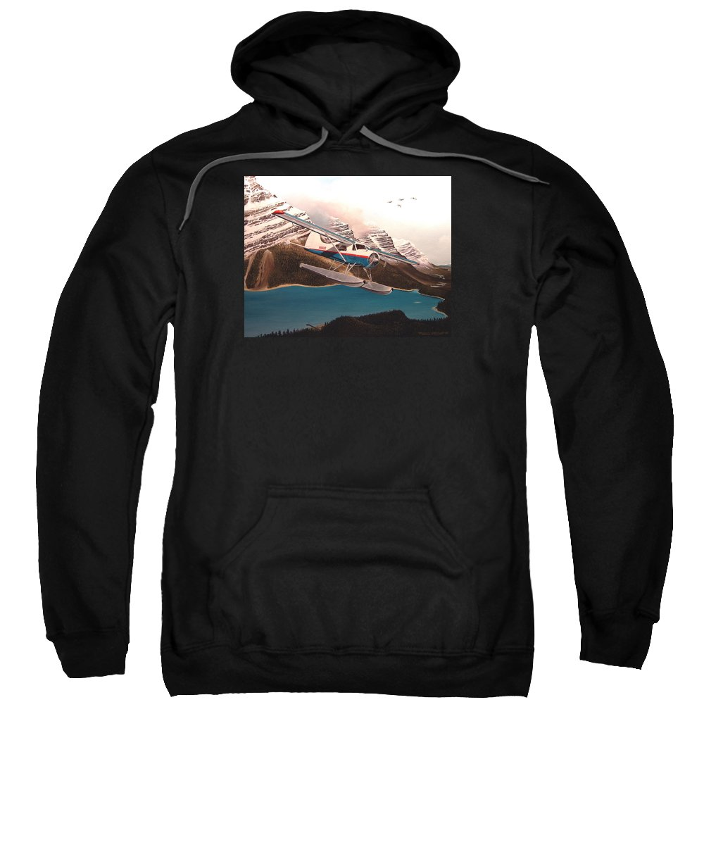 Aviation Sweatshirt featuring the painting Bringing Home The Groceries by Marc Stewart