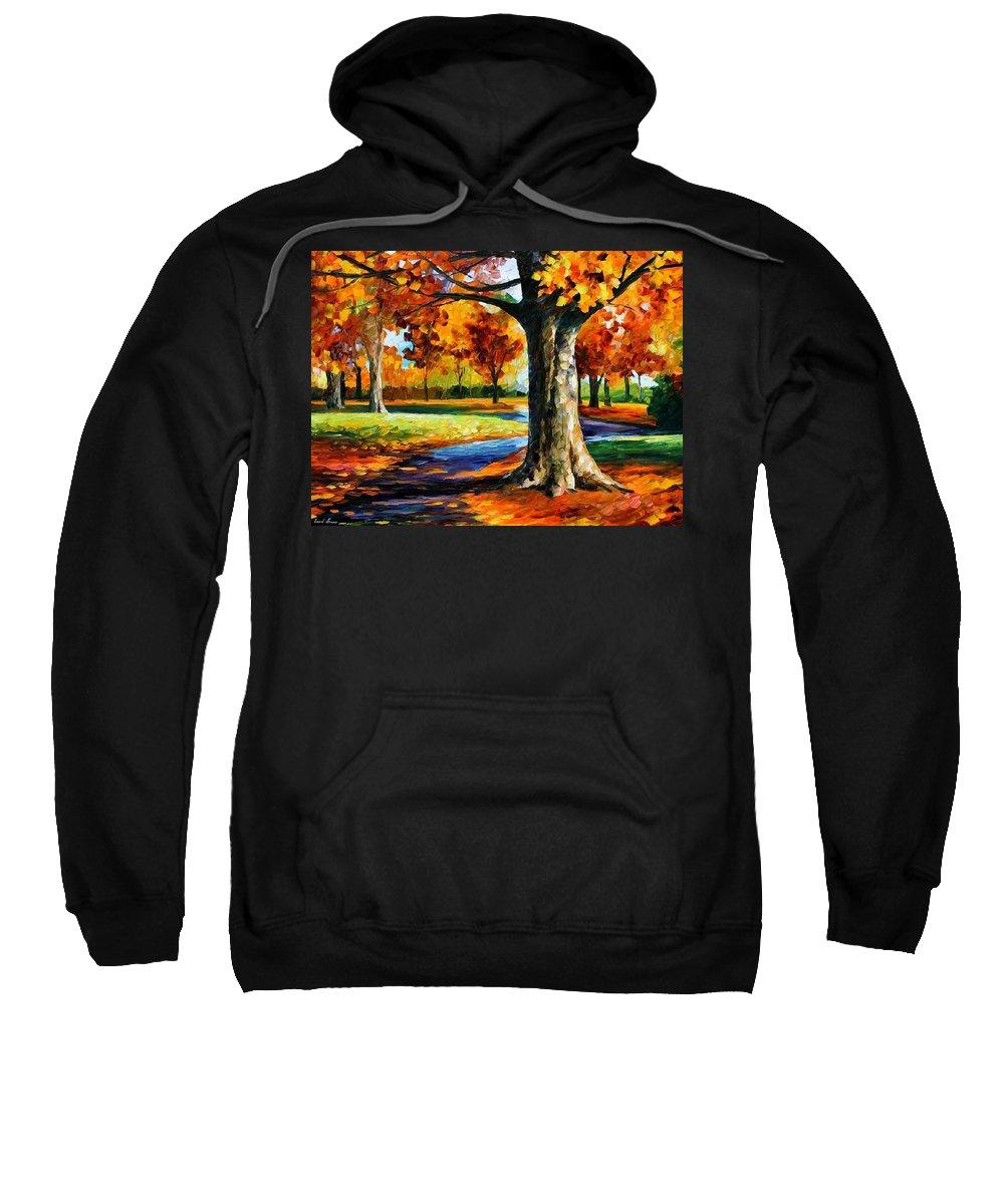 Afremov Sweatshirt featuring the painting Bristol Fall by Leonid Afremov