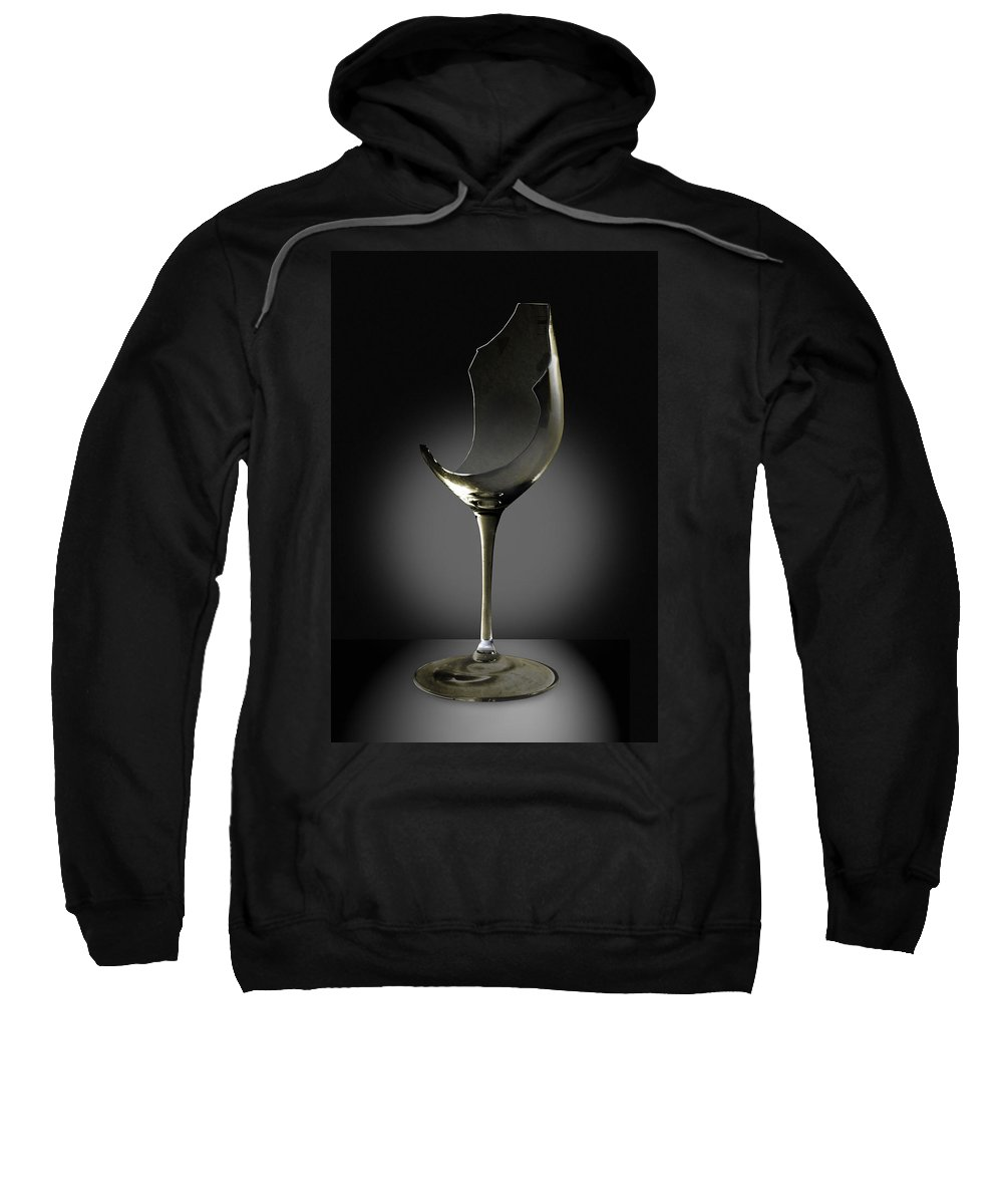 Glassware Sweatshirt featuring the photograph Broken Wine Glass by Yuri Lev